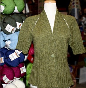 olive green knit sweater and sweater yarns